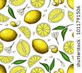 lemon vector seamless pattern... | Shutterstock .eps vector #1011791506