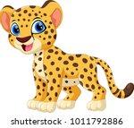 Cute Cheetah Cartoon Isolated...