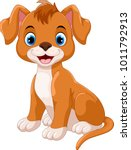 Cute Little Dog Cartoon Sitting ...