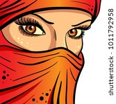 beautiful girl in a veil on a... | Shutterstock .eps vector #1011792958