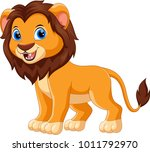 cute lion cartoon isolated on... | Shutterstock . vector #1011792970