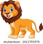 cute lion cartoon isolated on... | Shutterstock . vector #1011792970