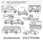 Specialized machines, emergency vehicles linear vector icon set isolated on white. Illustration