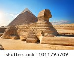 sphinx and pyramid | Shutterstock . vector #1011795709