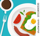 breakfast with coffee  sausages ... | Shutterstock .eps vector #1011800530