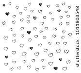 hand drawn vector black heart... | Shutterstock .eps vector #1011803548