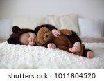 sweet little baby boy  dressed... | Shutterstock . vector #1011804520