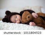 sweet little baby boy  dressed... | Shutterstock . vector #1011804523