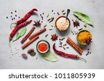 various oriental spices on the... | Shutterstock . vector #1011805939