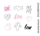 hand drawn collection of hearts.... | Shutterstock .eps vector #1011809410