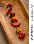 pepper jalape o assorted on...   Shutterstock . vector #1011812734