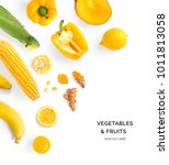 creative layout made of yellow... | Shutterstock . vector #1011813058
