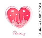 valentines card. paper cut... | Shutterstock .eps vector #1011815854