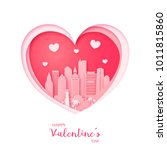 valentines card. paper cut... | Shutterstock .eps vector #1011815860