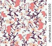 seamless pink botanical vector... | Shutterstock .eps vector #1011821050