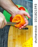 removal of the core with seeds... | Shutterstock . vector #1011821593