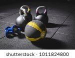 kettle bells  medicine ball and ... | Shutterstock . vector #1011824800