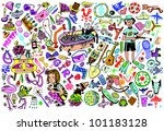 BOYS&GIRLS. Giant Isolated Objects Collection (Vector Set) - stock vector