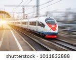high speed train rides at high... | Shutterstock . vector #1011832888
