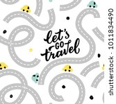 seamless pattern road with baby ... | Shutterstock .eps vector #1011834490