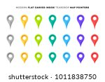 set of colorful map markers.... | Shutterstock .eps vector #1011838750
