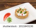 lemon tart with cream decorated ...   Shutterstock . vector #1011845230
