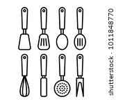 kitchen utensils thin line... | Shutterstock .eps vector #1011848770