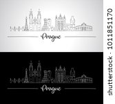Prague Skyline With Buildings...