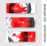 banners with abstract black ink ... | Shutterstock .eps vector #1011853606