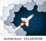 paper art of space shuttle... | Shutterstock .eps vector #1011854038