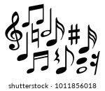 music note icons vector set ... | Shutterstock .eps vector #1011856018