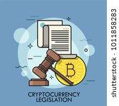 golden bitcoin coin  paper... | Shutterstock .eps vector #1011858283
