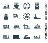 tanker icons. set of 16... | Shutterstock .eps vector #1011860230