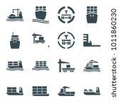 tanker icons. set of 16... | Shutterstock .eps vector #1011860230