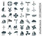 wind icons. set of 36 editable... | Shutterstock .eps vector #1011860524