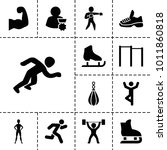 athlete icons. set of 13... | Shutterstock .eps vector #1011860818