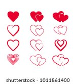 set hand drawn hearts. design... | Shutterstock .eps vector #1011861400