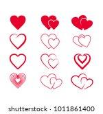 set hand drawn hearts. design... | Shutterstock .eps vector #1011861400