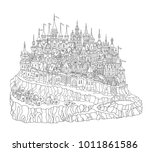 vector cartoon fairy tale rocky ... | Shutterstock .eps vector #1011861586