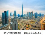dubai skyline at sunset with... | Shutterstock . vector #1011862168