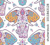 pattern with mandala and... | Shutterstock .eps vector #1011863128