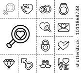 romance icons. set of 13... | Shutterstock .eps vector #1011868738