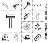 sharp icons. set of 13 editable ... | Shutterstock .eps vector #1011868819