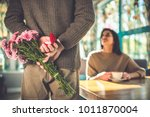 the man makes a proposal to his ... | Shutterstock . vector #1011870004