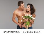happy loving couple with... | Shutterstock . vector #1011871114
