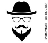 cool hipster face vector icon...   Shutterstock .eps vector #1011872500