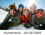 group of friends having fun on... | Shutterstock . vector #1011872683