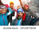 group of smiling friends with... | Shutterstock . vector #1011872818