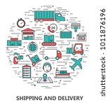 shipping and delivery icon set | Shutterstock .eps vector #1011876196