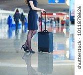 beautiful female passenger or... | Shutterstock . vector #1011878626
